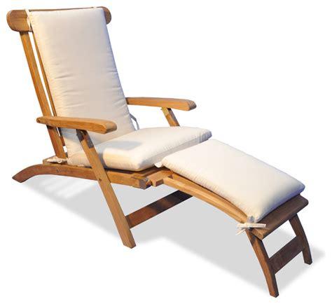 teak steamer chaise lounge  sunbrella cushion canvas
