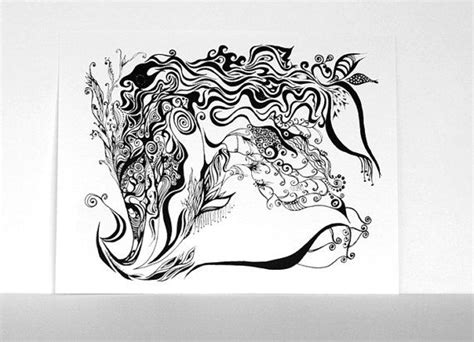 Abstract Black And White Animal Drawings by Abstract Drawing Black And White Print Ink Pen Line
