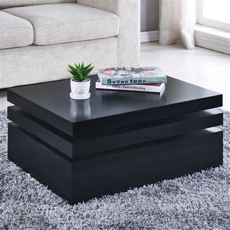 Ideas & inspiration   driven by decor. Black Square Coffee Table Rotating Contemporary Modern Livi…   Contemporary modern living room ...