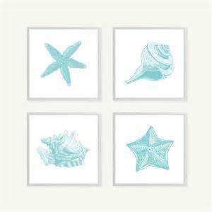 turquoise shells art blue bathroom wall art bathroom art