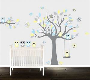 boys grey yellow owl wall decals nursery wall stickers With nice yellow and gray wall decals