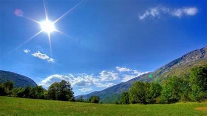 Summer Sun Glade Beams Meadow Wallhere