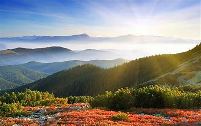 Sunrise Mountains Forest Wallpapers Wide