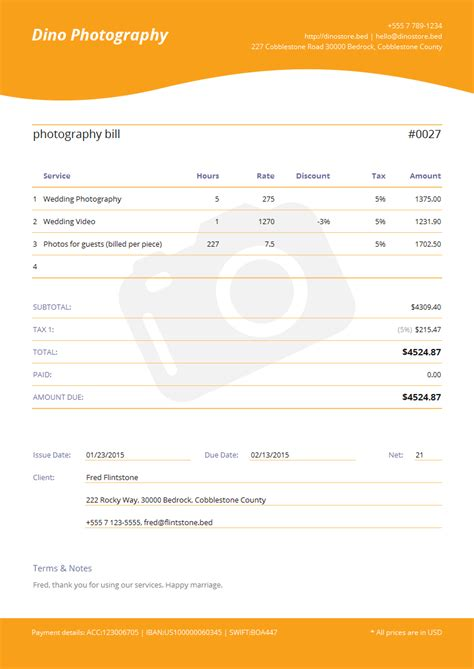 photography invoice template spreadsheet templates