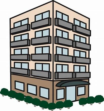 Building Clipart Apartment Drawing Elevation Rise Mixed
