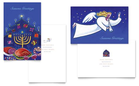 holiday seasons menorah greeting card template word