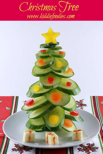 cucumber christmas tree vegan snack for kids kiddie