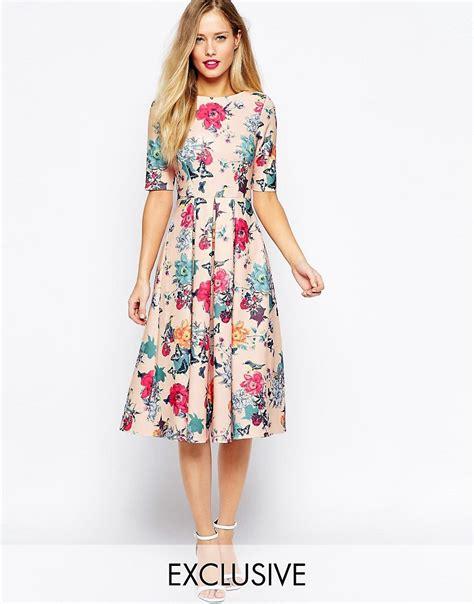 image 1 of closet scuba midi skater dress in floral print