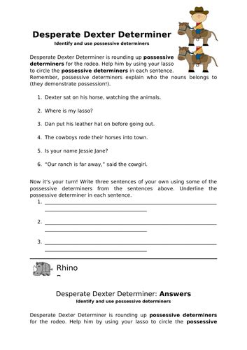 desperate dexter determiner ks2 worksheet by