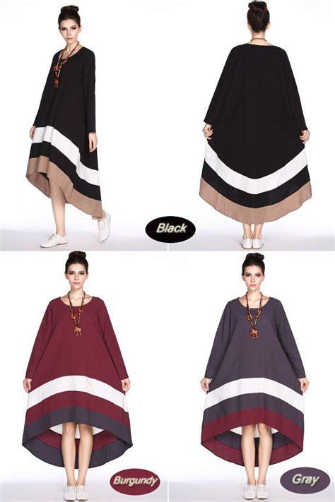 size contrast color joint linen dress loose long