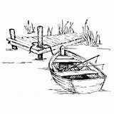 Stamps Dock Coloring Rowboat Boat Serendipity Cards Impressions Drawing Fishing Digi Stamp Printables Burning Wood sketch template