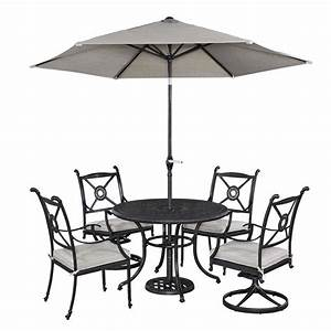 Home styles athens 5 piece patio dining set with umbrella for 5 piece patio set with umbrella