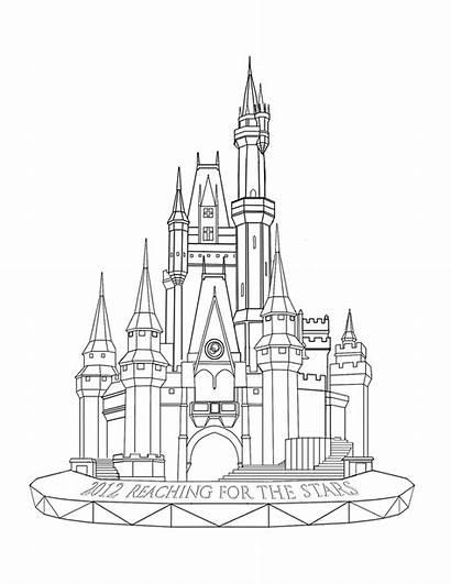 Castle Drawing Coloring Disney Outline Sketch Kingdom