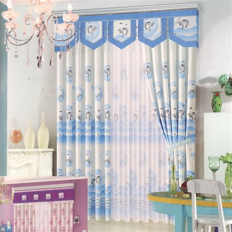 cute dolphin patterns blue curtains  bedroomno valance