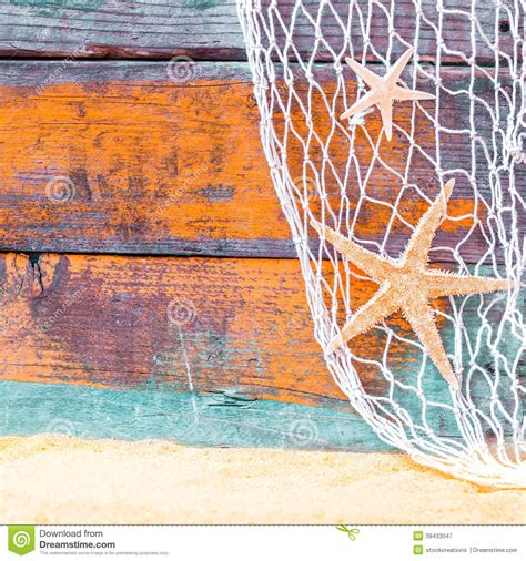 rustic nautical background  starfish stock image