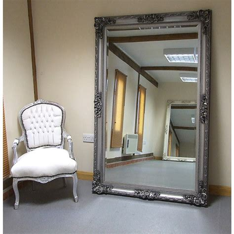shabby chic large wall mirrors paris extra large shabby chic antique style leaner wall mirror silver