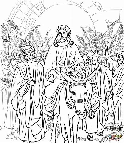 Jerusalem Entry Into Jesus Coloring Pages Drawing