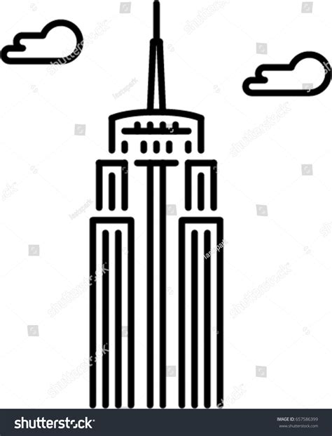 Empire State Building Outline Icon Stock Vector 657586399