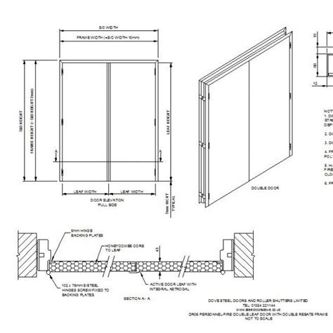 fire rated double leaf door cad drawing cad blocks