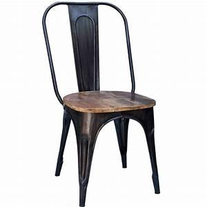 Chaise Industrielle Cuir : chaises m tal industrielle assise bois 4 couleurs disponibles ~ Teatrodelosmanantiales.com Idées de Décoration