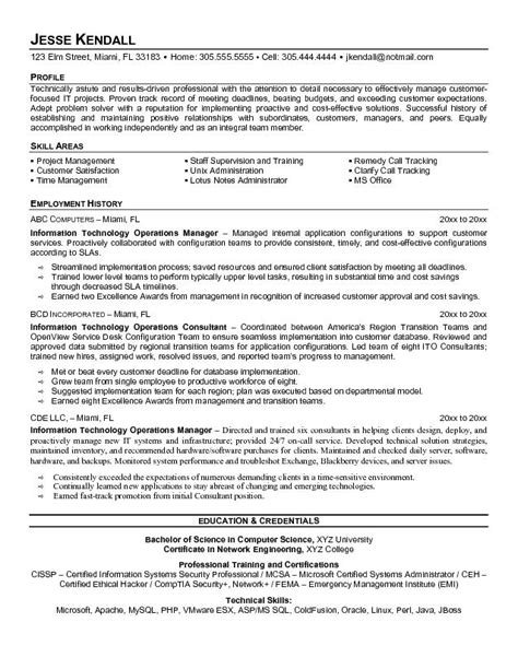 information technology manager resume exle information technology operations manager resume sle