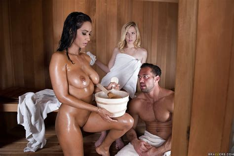 wet milf isis love showing off big tits and ass before giving bj in sauna