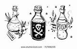 Bottle Bottles Drawing Tattoo Drawings Wiccan Alchemy Doodles Draw Potions Drawn Dark Crafts Hand sketch template