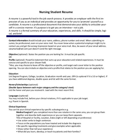 Nursing Resume Exles by Nursing Student Resume Template 36 Student Resume