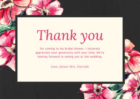 thank you card bridal shower template floral watercolor bridal shower thank you card templates