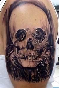 Black Scary Skull Tattoo On Half Sleeve