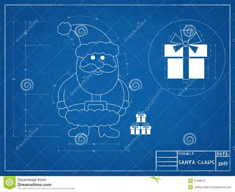 Santa Claus Blueprint Stock Illustration. Image Of Diagram