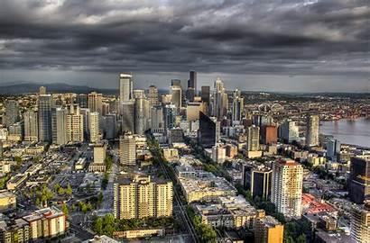 Seattle Washington Oben Megalopolis Above Usa Megapolis