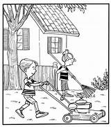 Drawing Backyard Yard Coloring Pages Doing Lawn Children Yardwork Line Getdrawings sketch template