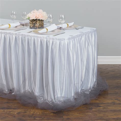 14 ft. Two Tone Tulle Chiffon Table Skirt White/Silver