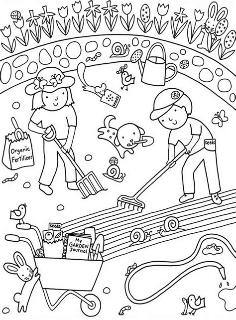 kids gardening coloring pages  colouring pictures