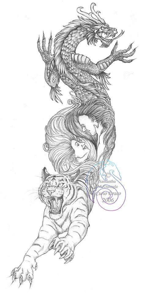 fun  dragon tiger tattoo