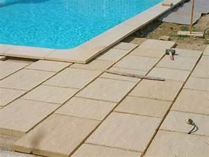 Pose De Dalle Sur Sable : dallage de piscine en pierre calcaire ocre reconstu e par ~ Melissatoandfro.com Idées de Décoration