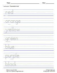 handwriting worksheets for kindergarten names free
