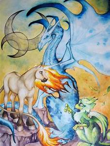 The Dragon,Unicorn and Griffin by Ashamawee on DeviantArt
