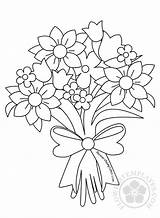 Bouquet Flower Coloring Drawing Flowers Pages Roses Colouring Printable Drawings Templates Rose Sheets Flowerstemplates sketch template