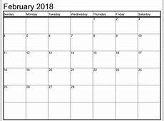 February 2018 Calendar Excel Printable Template