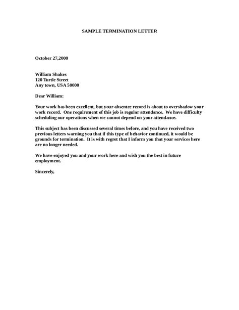 employee termination termination letter sle how to write termination letter templates tips