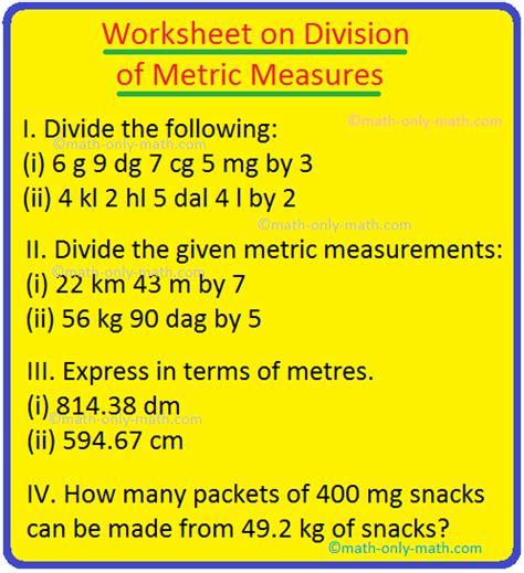 worksheet  division  metric measures basic metric
