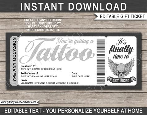 tattoo gift certificate card template diy printable gift