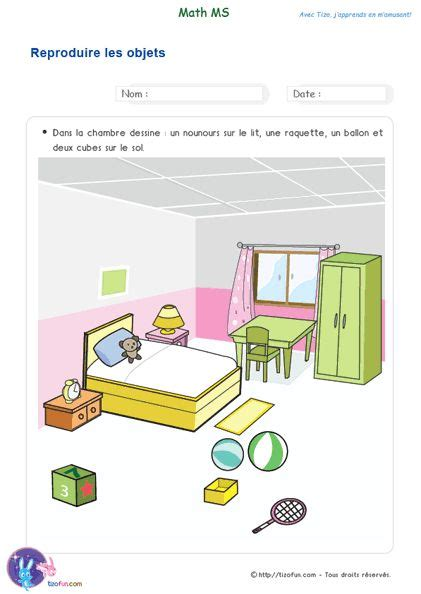 exercice maternelle maths ms reproduire des objets