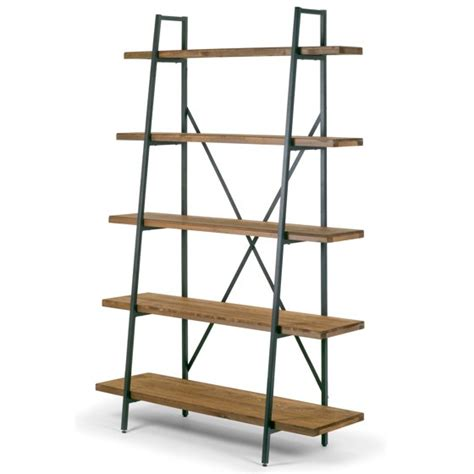 Metal Leaning Bookcase by Ailis 71 5 Quot Leaning Etagere Brown Pine Wood Metal Frame