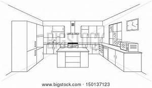 Sketch modern kitchen plan with island. Single point ...