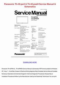 Panasonic Th 42 Pw4 Th 42 Pwd4 Service Manual By