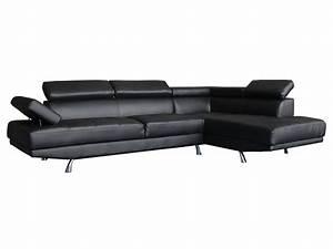 Canapé Droit 5 Places : canap d 39 angle sophia 5 places noir angle droit ~ Premium-room.com Idées de Décoration