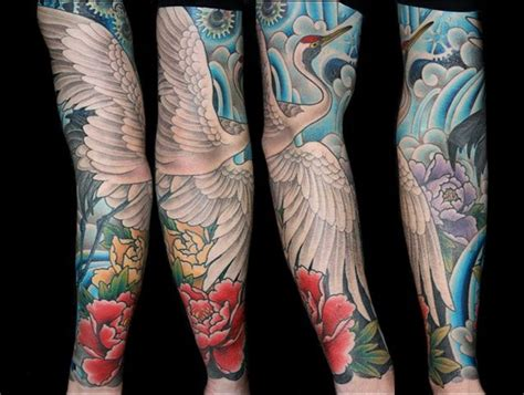 traditional japanese crane peonies water sleeve tattoo